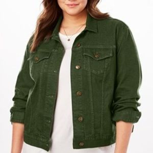 Woman Within Green Denim Jean Jacket Size 24W